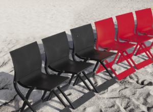 due sedie Wave rosso per tavolo